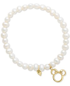 Disney© Children's Cultured Freshwater Pearl (4mm) Minnie Mouse Charm Stretch Bracelet in 14k Gold