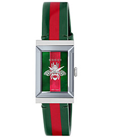 Gucci Women's Swiss G-Frame Green-Red-Green Leather Strap Watch 21x34mm
