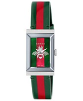 e49ac576383 Gucci Women s Swiss G-Frame Green-Red-Green Leather Strap Watch 21x34mm