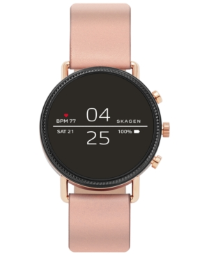 Skagen WOMEN'S FALSTER 2 BLUSH SILICONE STRAP TOUCHSCREEN SMART WATCH 40MM, POWERED BY WEAR OS BY GOOGLE