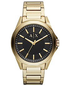A|X Armani Exchange Men's Drexler Gold-Tone Stainless Steel Bracelet Watch 44mm