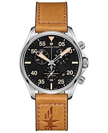 Men's Swiss Chronograph Khaki Pilot Brown Leather Strap Watch 44mm