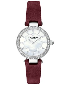 COACH Women's Park Burgundy Leather Strap Watch 26mm