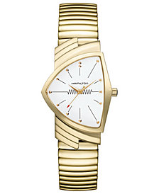 Hamilton Unisex Swiss Ventura Gold-Tone PVD Stainless Steel Bracelet Watch 32.3mm