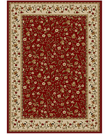 "CLOSEOUT!! KM Home Pesaro Floral Red 5'5"" x 7'7"" Area Rug"