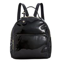 Tommy Hilfiger Patent Julia Dome Backpack (Black/Gold)