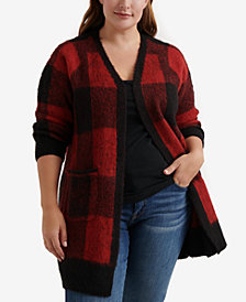 Lucky Brand Plus Size Buffalo Plaid Cardigan