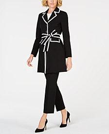 Le Suit Contrast-Trim Jacket Pantsuit