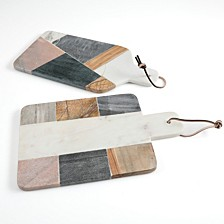 Pinehurst 2 pc. Wood and Marble Cutting Board Set