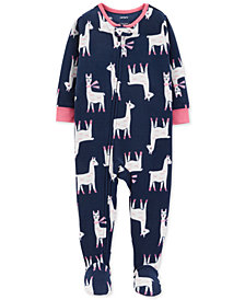 Carter's Toddler Girls Llama-Print Footed Fleece Pajamas