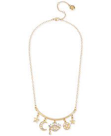 "BCBG Gold-Tone Crystal Mystical Charm Necklace, 17"" + 3"" extender"
