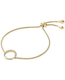 Sterling Silver Cubic Zirconia Circle Slider Bracelet