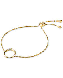Michael Kors Sterling Silver Cubic Zirconia Circle Slider Bracelet