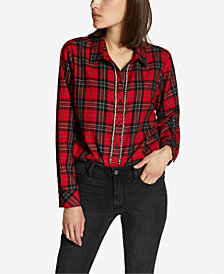 Sanctuary Plaid Rhinestone Rockstar Boyfriend Shirt
