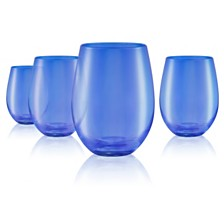 Artland Set of 4 16oz. Luster Blue Stemless Glasses