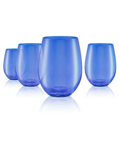 Artland Set of 4 16oz. Luster Blue Stemless Glasses