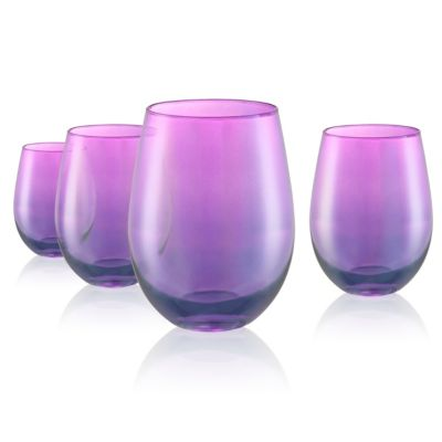 Set of 4 Luster Purple Stemless 16oz. Glasses