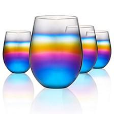 Rainbow 18oz. Stemless Glasses, Set of 4.