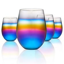 Artland Rainbow 18oz. Stemless Glasses, Set of 4.