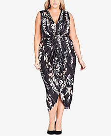 City Chic Trendy Plus Size Printed Draped Dress
