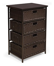 August Collection Tall Four Basket Storage Unit