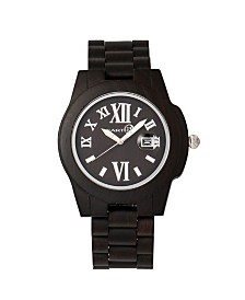 Earth Wood Heartwood Wood Bracelet Watch W/Date Brown 43Mm