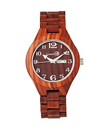 Earth Wood Sapwood Wood Bracelet Watch W/Date Red 41Mm