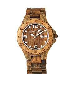 Raywood Wood Bracelet Watch W/Date Olive 47Mm