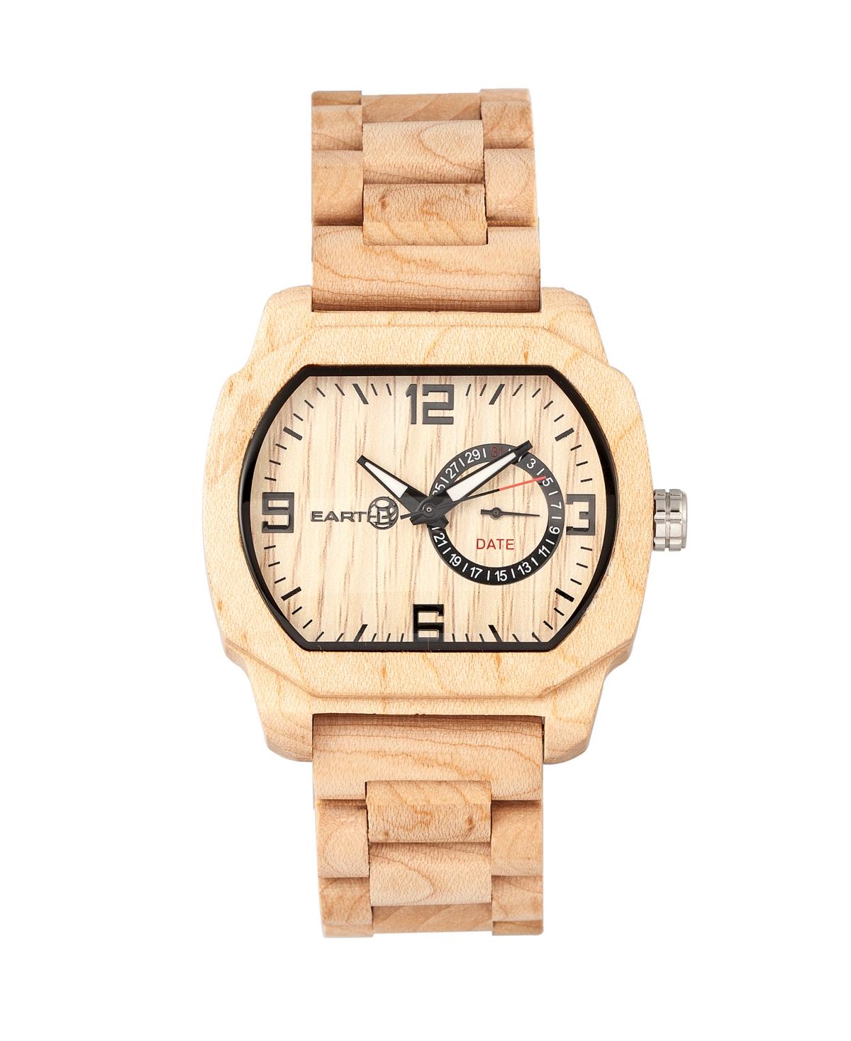 Earth Wood Scaly Wood Bracelet Watch W/Date Khaki 46Mm