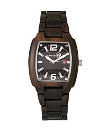 Sagano Wood Bracelet Watch W/Date Brown 42Mm