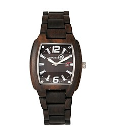 Earth Wood Sagano Wood Bracelet Watch W/Date Brown 42Mm