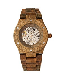 Grand Mesa Automatic Skeleton Wood Bracelet Watch Olive 44Mm