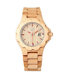Earth Wood Gila Wood Bracelet Watch W/Magnified Date Khaki 43Mm