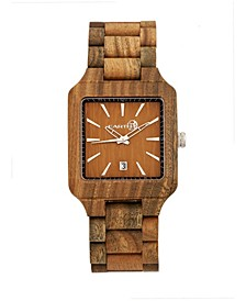 Arapaho Wood Bracelet Watch W/Date Olive 39Mm