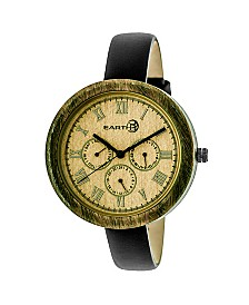 Earth Wood Brush Leather-Band Watch W/Day/Date Olive 40Mm