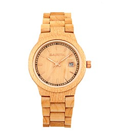 Biscayne Wood Bracelet Watch W/Date Khaki 38Mm