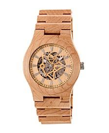 Gobi Automatic Skeleton Wood Bracelet Watch Khaki 45Mm