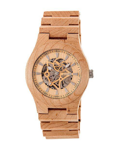 Earth Wood Gobi Automatic Skeleton Wood Bracelet Watch Khaki 45Mm