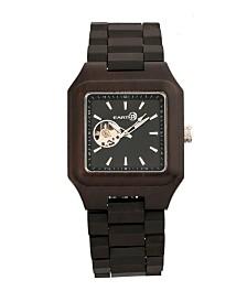 Earth Wood Black Rock Automatic Wood Bracelet Watch Brown 42Mm