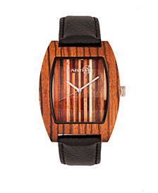 Earth Wood Cedar Leather-Band Watch Olive 40Mm