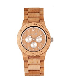Bonsai Wood Bracelet Watch W/Day/Date Khaki-Tan 45Mm