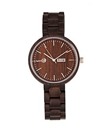 Mimosa Wood Bracelet Watch W/Day/Date Brown 39Mm