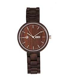 Earth Wood Mimosa Wood Bracelet Watch W/Day/Date Brown 39Mm