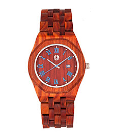 Earth Wood Baobab Wood Bracelet Watch W/Date Red 46Mm