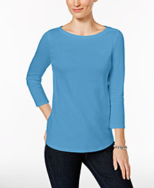 Charter Club Petite Pima Cotton Button-Shoulder Top, Created for Macy's
