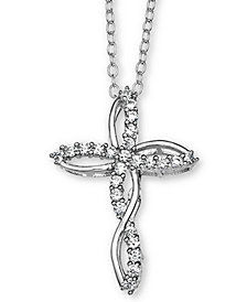 "Giani Bernini Cubic Zironia Cross 18"" Pendant Necklace in Sterling Silver, Created for Macy's"