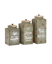 Imax Farmhouse Lidded Canisters - Set of 3