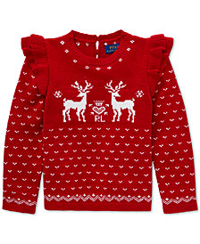 Polo Ralph Lauren Toddler Girls Ruffled Reindeer Sweater
