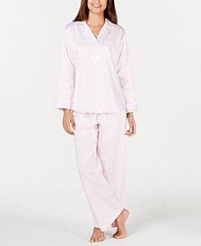 Miss Elaine Petite Woven Striped Satin Pajama Set