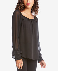 Karen Kane Smocked-Sleeve Top